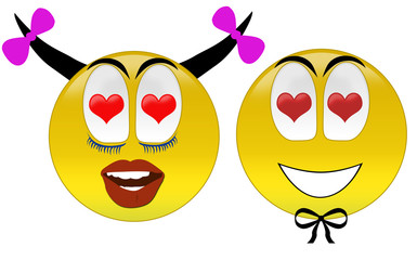3d rendering happy smiley's  with love at eyes