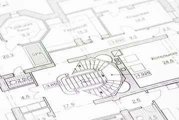 House plan blueprints close up