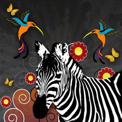 Illustration mit Zebra und Kolibris