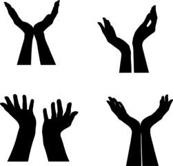 silhouettes gestes mains