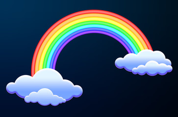 beautiful vibrant colored rainbow over some clouds