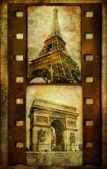 Fototapete - Parisian pictures - vihtage filmstrip