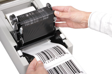 Wall Mural - barcode label printer, isolated on white