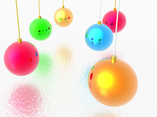 A group of different colors balls for christmas tree