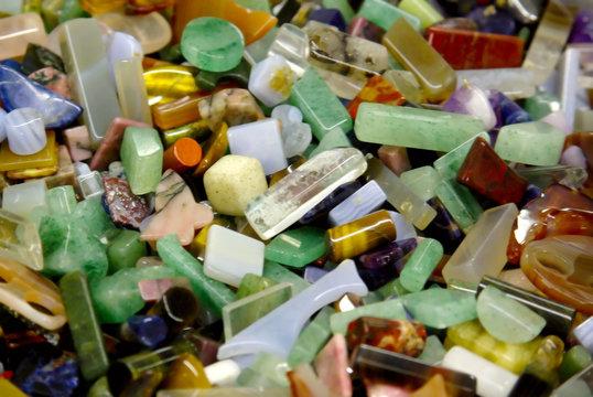 natural background - shaped semi precious gemma stones
