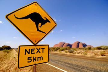 Poster Australië Strassenschild Känguruh