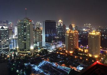 Acrylic Prints Indonesia Night view of a capital city