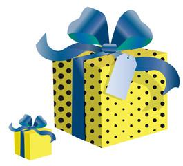 Paquets cadeaux jaune à rubans bleus