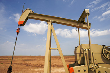 An oil pump or pumpjack in the United States of America.
