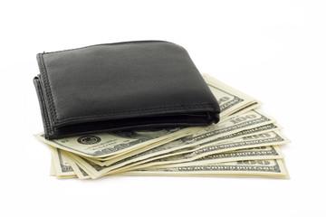 Black purse with hundred dollar bills