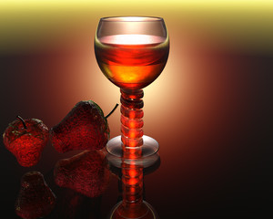 cool wine glass in 3D with strawberry