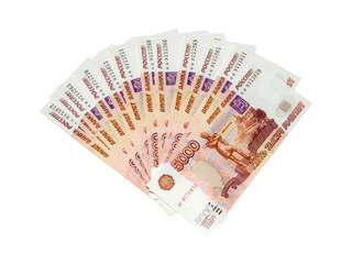 Russian  big money. 60.000 rubles isolated on white