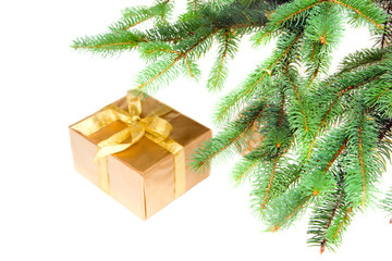 christmas gift under the green christmas-tree