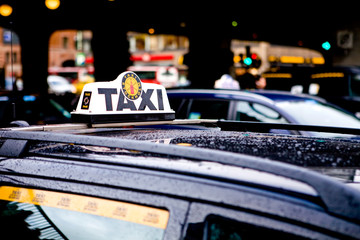 Taxi Cab Waiting for a Fare in Stockholm City