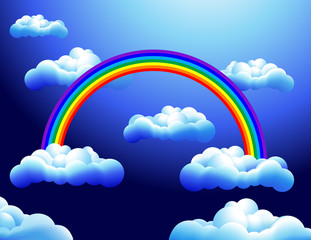 Rainbow in the clouds, vector illustration
