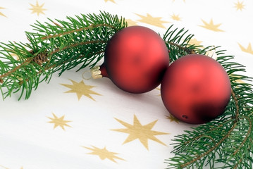 Christmas background with two red balls
