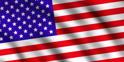 Flag of the USA, waving, top right light