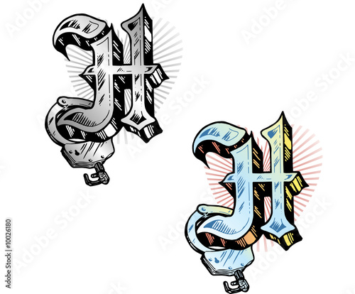 Tattoo Style Letter H With Relevant Symbols Incorporated Stock