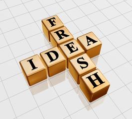 3d golden boxes, black letters with text - fresh idea, crossword