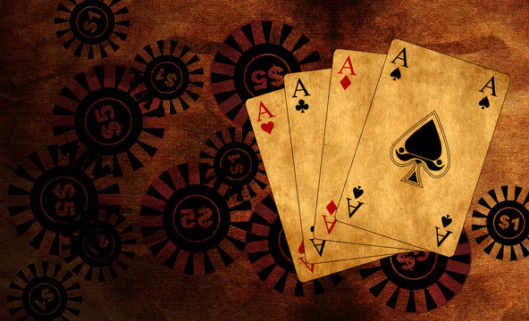 poker playing cards - vintage background