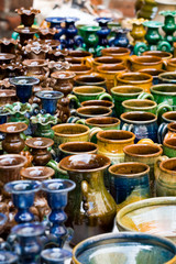 Glazed colourful pottery products ready for sale