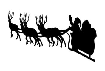 Santa isolated on white cut out with  magic wand
