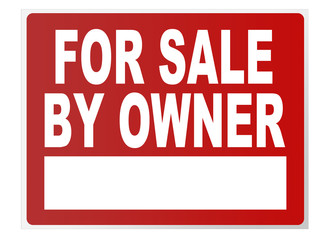 for sale by owner traffic sign isolated on white background