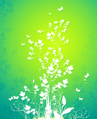An illustration of a floral background with butterfly