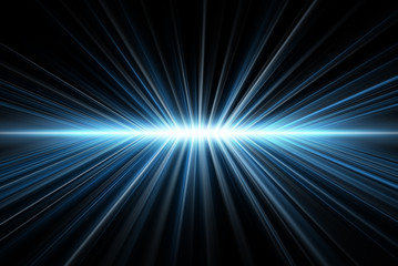 Rays' light, blue on black, abstract