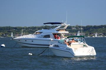 Boats at anchor on long islands north shore