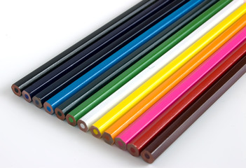 A set of colorful pencil crayons