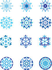 Crystal modulation of a snowflake 1. Vector