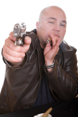 elegant gangster isolated on white background