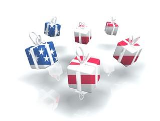Gift box of USA flags stock option market