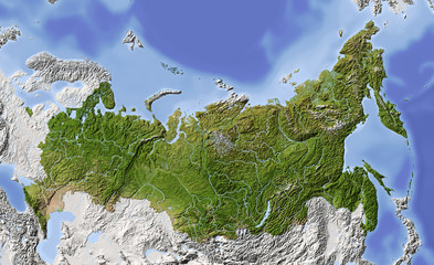 Russia. Shaded relief map, colored for vegetation.