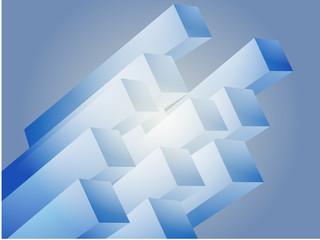 Abstract 3d geometric rectangular cluster shape illustration