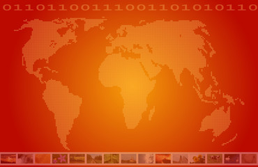 world multimedia television orange background