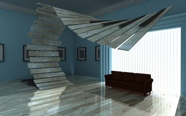 Abstract gallery piano floor