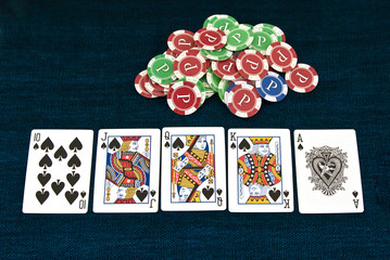Poker royal flush combination on the table