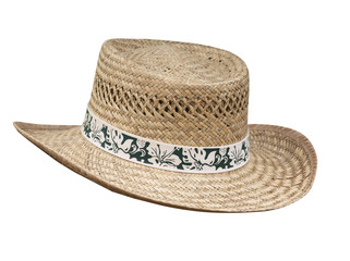 Flax Stetson with Floral Braid  isolated with clipping path