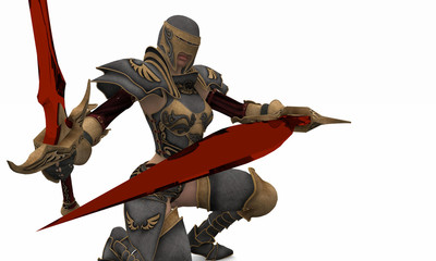 warrior woman crimson blades