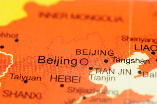 Closeup of Beijing, China on map