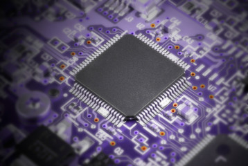 Abstract focused on chip image of system board