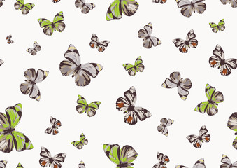 funky butterflies of different colors flying around.