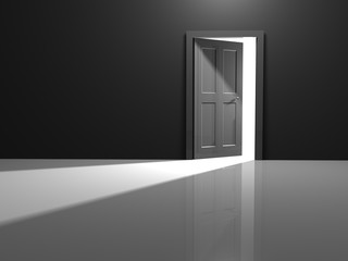 Open door to the white beyond