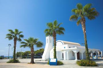 Garden Poster Cyprus White church and palms, Agia napa, Cyprus
