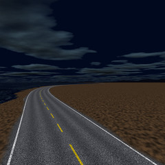 Empty road in a dark night