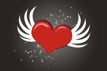 Lovely cartoon Valentine heart with wings flying