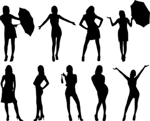Nine woman silhouettes. On white.