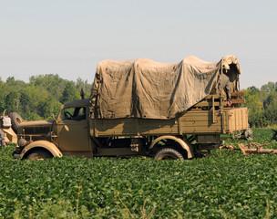 Wall Mural - World War II era military truck in a field